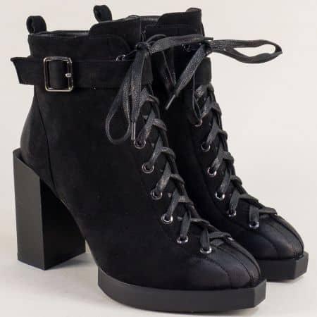 Черни дамски боти на висок ток и платформа- ELIZA 16669nch