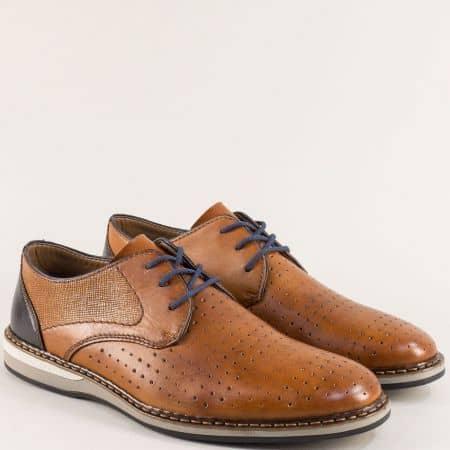 Кафяви мъжки обувки с връзки от естествена кожа- Rieker 16811ks