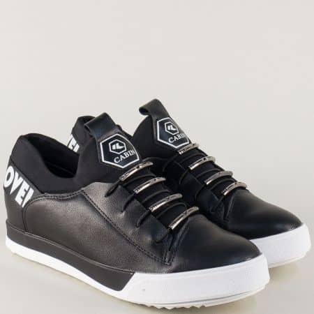 Спортни дамски обувки на платформа с връзки в черен цвят 16821ch