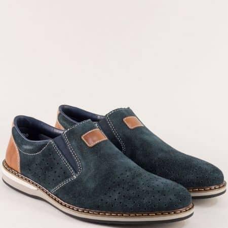 Сини мъжки обувки на Antistress ходило от естествен велур 16861vs