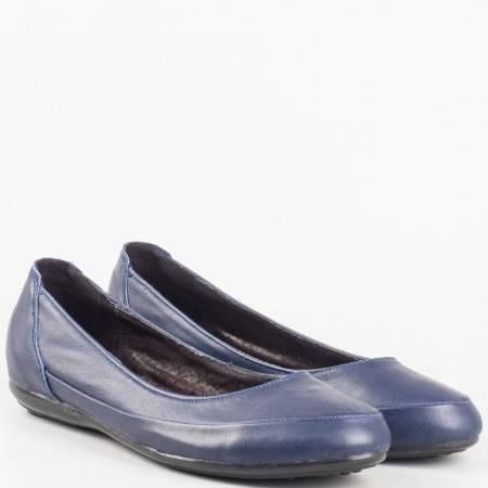 Дамски сини обувки, тип балерини изцяло от естествена кожа на български производител 1693406s