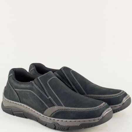 Шити мъжки обувки от естествен набук в черен цвят- Rieker 16963ch