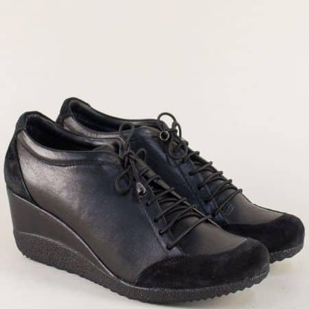 Черни дамски обувки с ластични връзки на клин ходило  1700ch