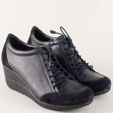 Сини дамски обувки с връзки от естествена кожа и велур 1700s