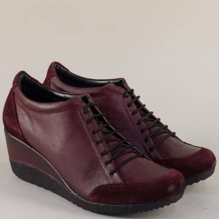 Дамски обувки цвят бордо от естествена кожа и велур в цвят бордо 1700vbd