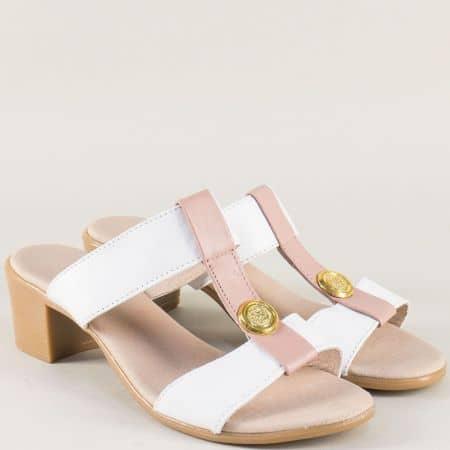 Дамски чехли в розово и бяло с кожена стелка 17011511abrz