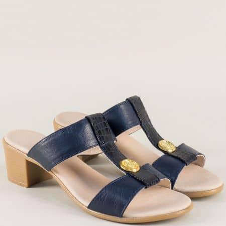 Кожени дамски чехли на среден ток в тъмно син цвят 17011511akrs