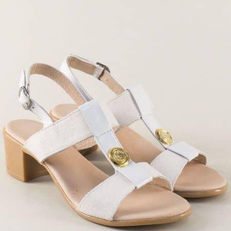 Бели дамски сандали на среден ток от естествена кожа 17011511b