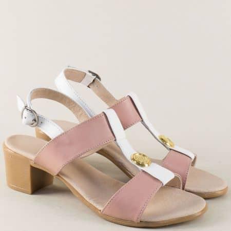 Дамски сандали в бяло и розово с кожена стелка 17011511rzb