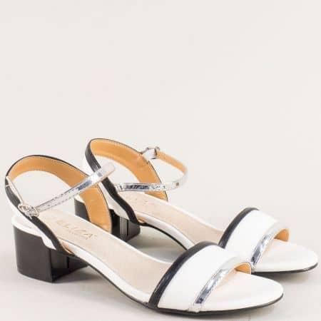 Дамски сандали в бяло, черно и сребро на среден ток 17014b