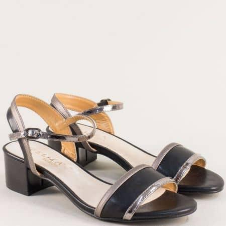 Дамски сандали на среден ток в черен цвят- ELIZA 17014ch