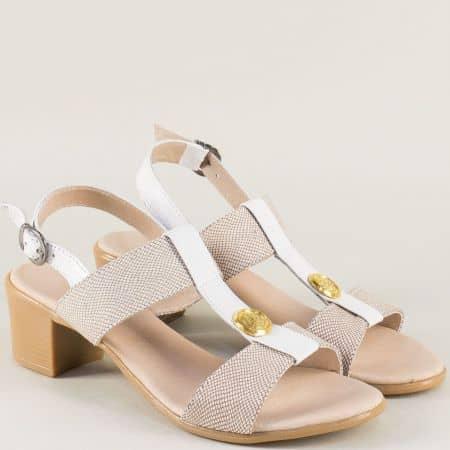 Дамски сандали на среден ток в бяло и бежово 17011511bjb