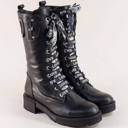 Дамски ботуши със закачливи връзки и цип в черен цвят 1702036ch