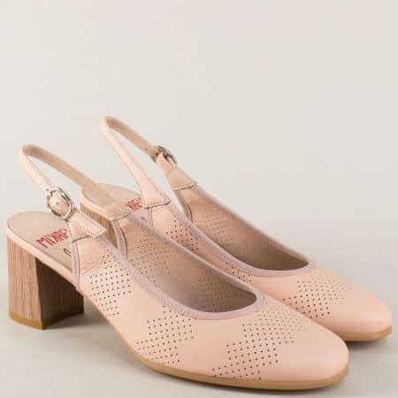 Испански дамски обувки на среден ток в розов цвят 17026rz