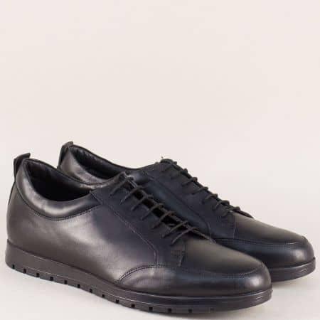 Кожени мъжки обувки в черно на равно ходило с връзки 17031753ch