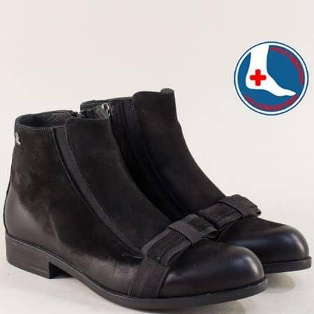 Дамски боти на нисък ток от естествен набук в черен цвят 1704508nch