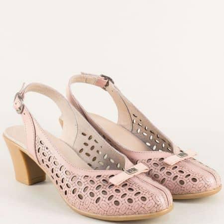 Розови дамски обувки с отворена пета и перфорация 17051810rz