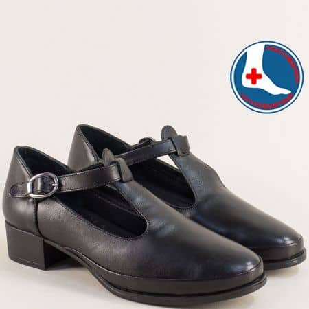 Черни дамски обувки на никък ток от естествена кожа 1709206ch