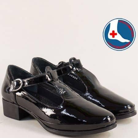 Анатомични дамски обувки от естествен лак в черен цвят 1709206lch