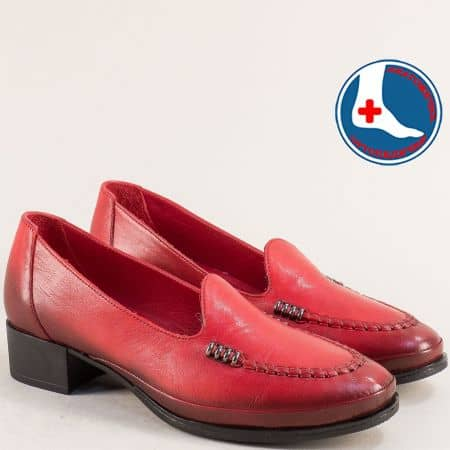 Червени дамски мокасини от естествена кожа на нисък ток 1709216chv
