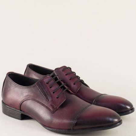 Мъжки обувки с връзки от естествена кожа в цвят бордо 170bd
