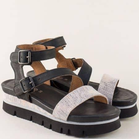 Дамски сандали на платформа в сиво и черно- TAKEME 1710ch