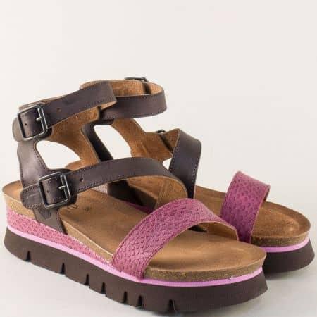 Испански дамски сандали в лилаво и тъмно кафяво 1710kl
