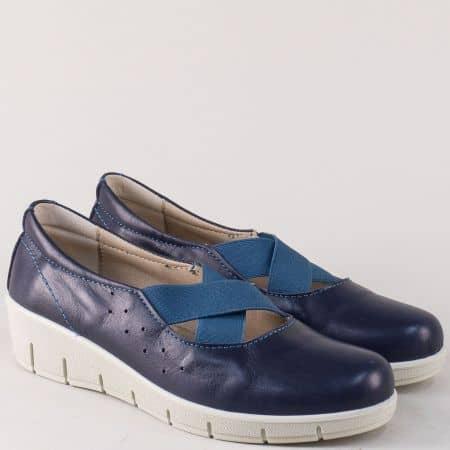 Ежедневни дамски обувки от естествена кожа в синьо на платформа 17115s
