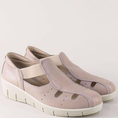 Бежови дамски обувки с прорези от естествена кожа 17118bj
