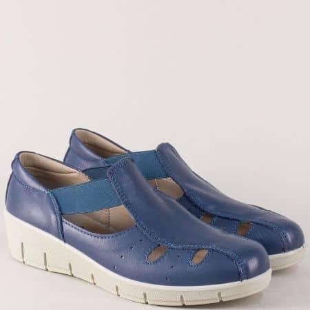 Сини дамски обувки на платформа с кожена стелка 17118s