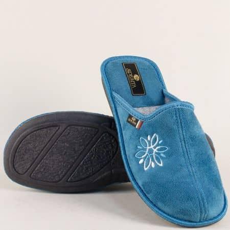 Равни дамски пантофи в син цвят Spesita 17124s