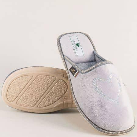 Дамски домашни пантофи в сив цвят- Spesita 17125sv