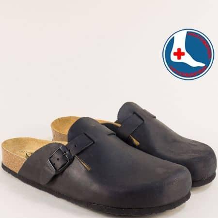 Кожени мъжки чехли със затворени пръсти и велурена стелка в черно- PLAKTON 171539ch