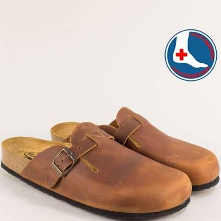 Кафяви мъжки чехли със затворени пръсти от естествена кожа- PLAKTON 171539k