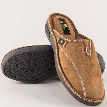 Дамски домашни чехли с ластик в бежов цвят- Spesita 17165bj