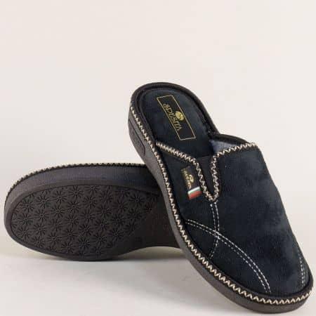 Дамски домашни чехли с два ластика в черен цвят 17176ch
