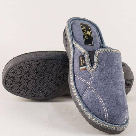 Дамски домашни пантофи с два ластика в сив цвят 17176sv