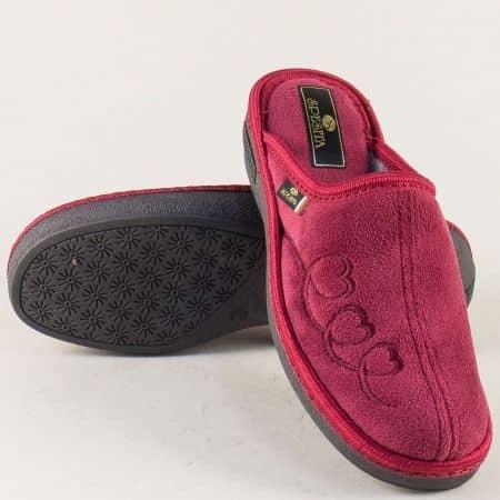 Дамски домашни пантофи в цвят бордо на удобно ходило 17177bd