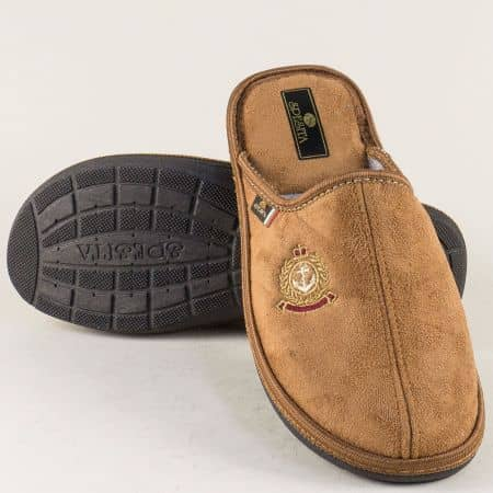 Кафяви мъжки домашни пантофи на удобно ходило 17189k