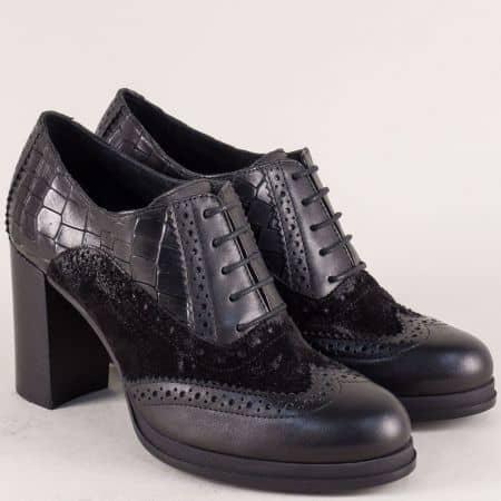 Дамски обувки от естествени материали в черен цвят с връзки 1720700ch