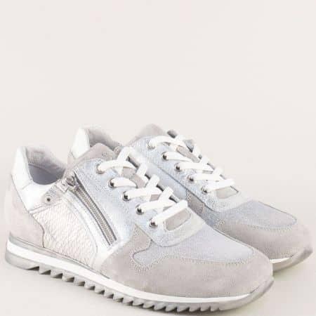 Сребърни дамски маратонки от естествена кожа и велур 17230sr