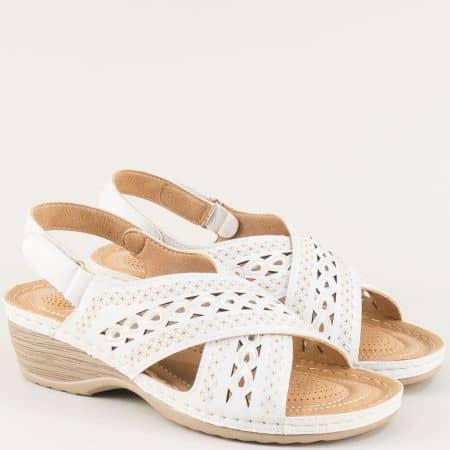 Бели дамски сандали с лепка на клин ходило- ELIZA 1726512b