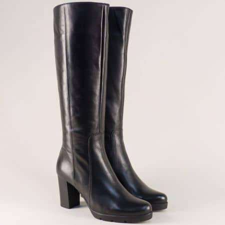 Черни дамски ботуши на висок ток от естествена кожа 172861ch