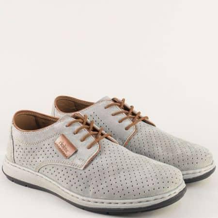Анатомични мъжки обувки от сив естествен велур- Rieker 17325vsv