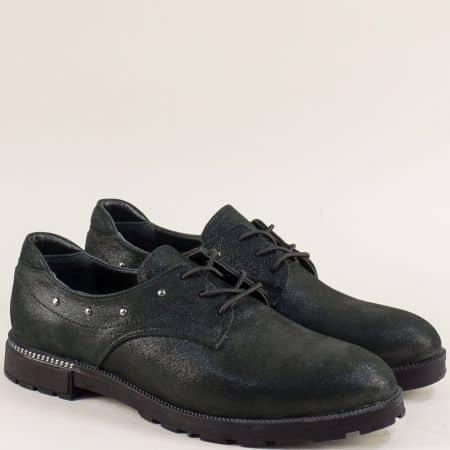 Дамски обувки от сатен и естествена кожа в черен цвят 1735sch