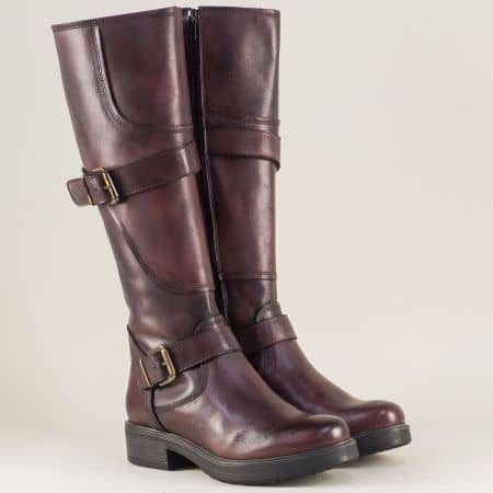 Дамски ботуши в цвят бордо от естествена кожа на нисък ток 1740300bd