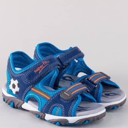 Равни детски сандали в син цвят с кожена стелка- Super Fit  17488-35s