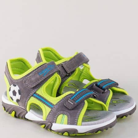 Детски сандали с две лепки и кожена стелка в сив цвят 17407-35svz