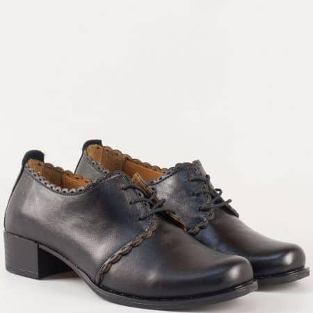 Дамски обувки с връзки в черен цвят от естествена кожа 174ch