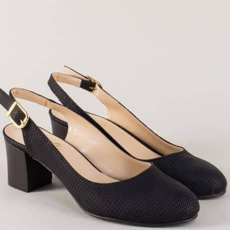 Черни дамски обувки на среден ток с изчистена визия 1750ch
